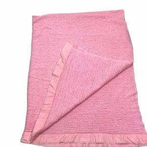 Vintage Satin Trim Waffle Weave Blanket Twin pink